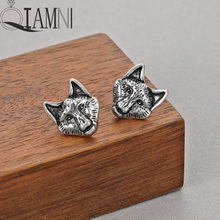 QIAMNI Vintage Punk Cat Animal Wolfs Head Stud Earring for Women Men Birthday Charm Gift Slavic Viking Jewelry Pendientes(China)