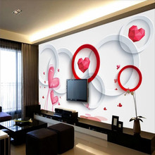 Romantic love 3D circle stereo TV background wall professional custom mural wallpaper poster photo
