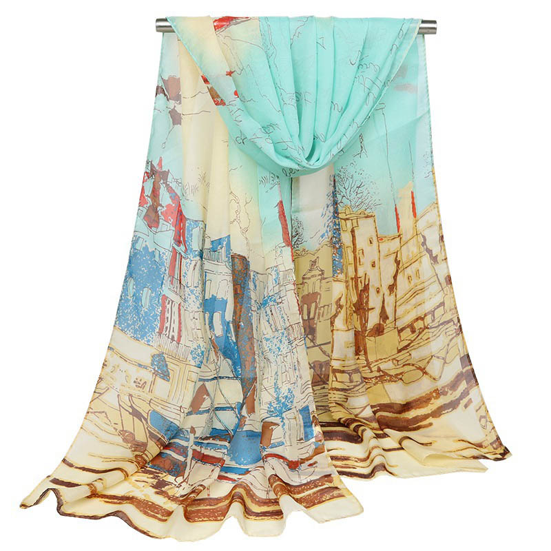 Women's Shawl High Quality Thin Oil Pattern Silk Scarf Long Sunscreen Chiffon Shawls Seaside Resort Beach Towel Bandana Hijab