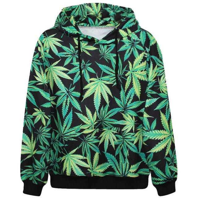 Harajuku hoodies men women hooded tracksuits print green leaves sweatshirt 3d casual hoody tops with pockets