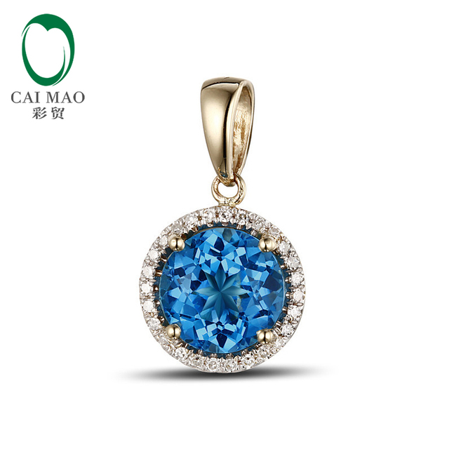 2.80CT!! Solid 14k Yellow Gold Natural Blue Topaz & Diamond Pendant Wholesale Jewelry
