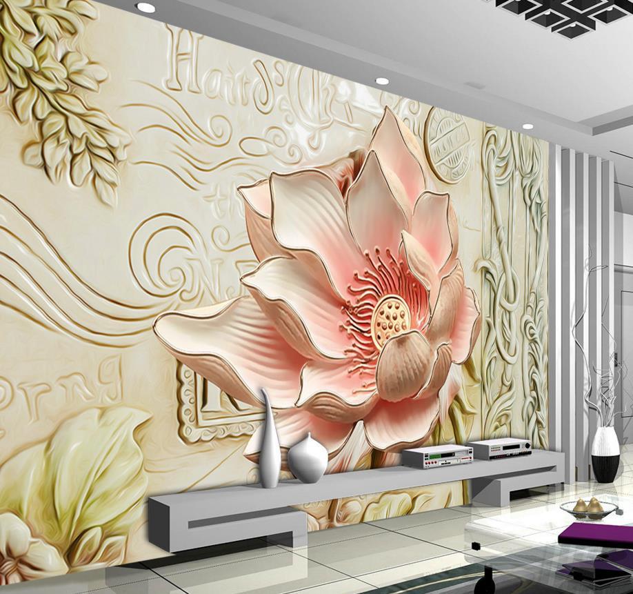 Aliexpress.com : Buy 3D Mural Wallpaper Embossed Flowers