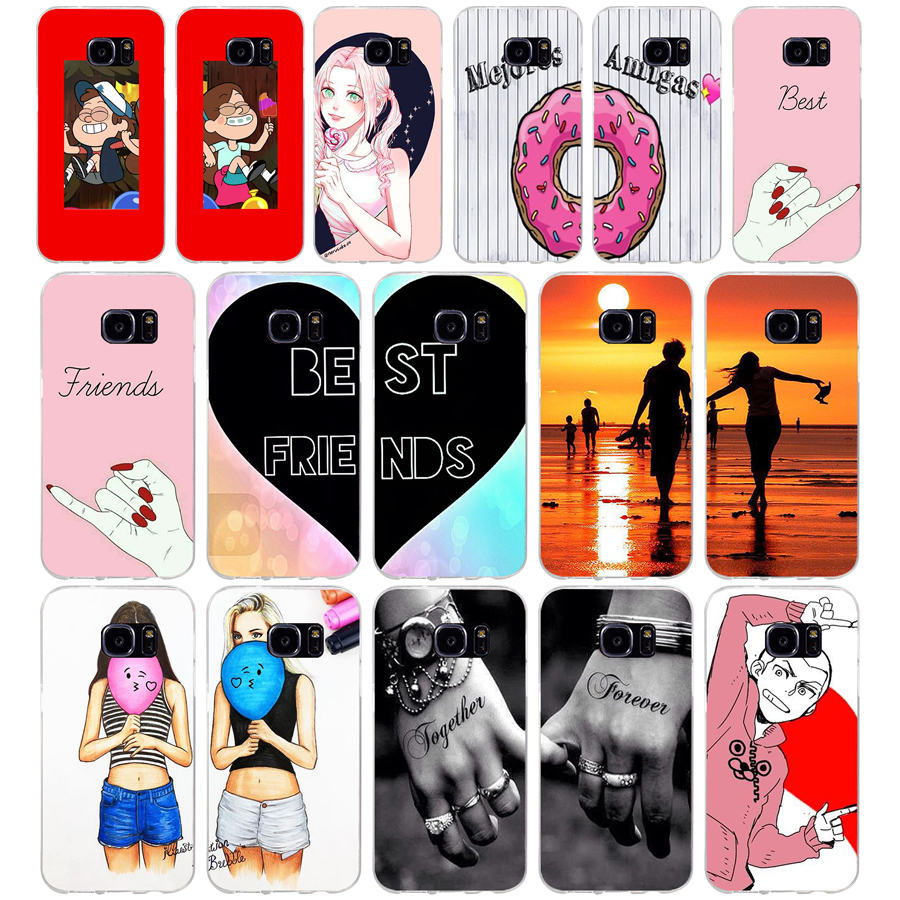 208Abest friend forever lovers couple Soft TPU Silicone Cover Case for samsung Galaxy s6 s6 s7 edge s8 s9 plus case