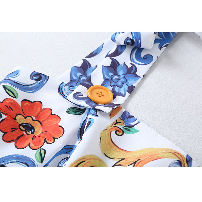 Women 39 s Dress 201 Spring Autumn New designer Blue White Porcelain Print Straps Halter High Waist Large Swing Ladies Beach Dress in Dresses from Women 39 s Clothing