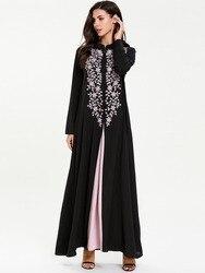 Повседневное мусульманское платье макси с вышивкой Abaya, комплект из 2 предметов, шикарное кимоно, длинное платье, свободные платья Jubah Ramadan, м...