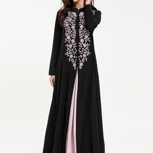 4a00e6894e1b12 Casual Borduren Maxi Jurk Moslim Abaya 2 stuks set Chic Kimono Lange Gewaad  Toga Losse Jubah