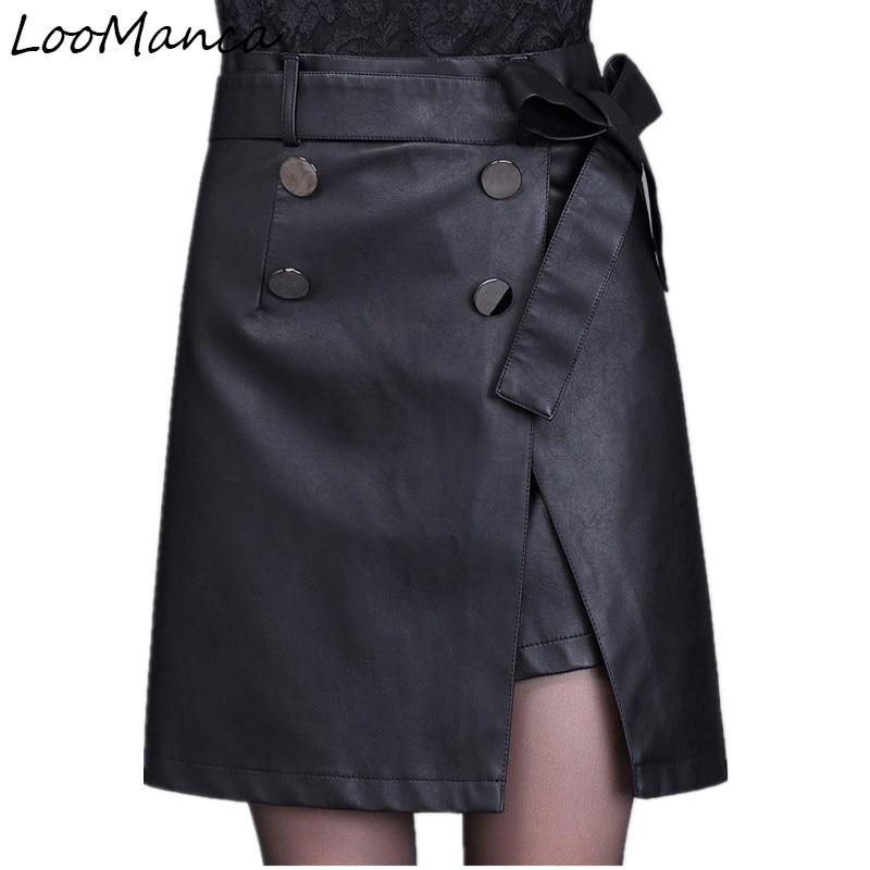 Autumn Winter Fashion Pu Leather Shorts For Women Fashion Ladies Skirt Split Women High Waist Black
