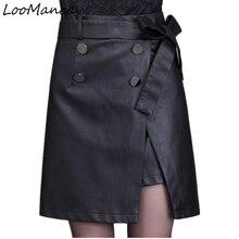 Осень-зима из модного кожзаменителя Шорты для женщин для Для женщин Женская юбка Разделение Для женщин Высокая талия черный A-Line Мини-юбки