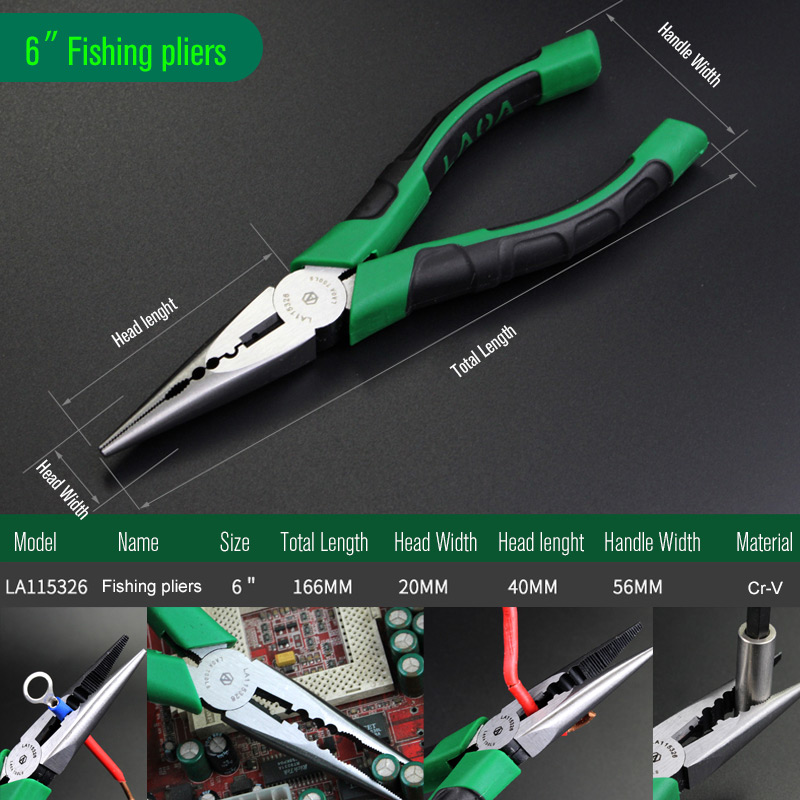 LAOA Brand Wire Cutter Japan Type Long Nose Pliers Cr-V Fishing Pliers  Fish Tools Steel Wire Side Cutter