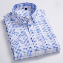 Men's Standard-Fit Short Sleeve Plaid Checked Dress Shirts Patch Chest Pocket Summer Casual Thin Soft Cotton Button-down Shirt