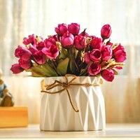 H18cmx10cm Home Decor Bukiet Symulacji Mini Rose Pąki Pulpit Doniczkowe Bonsai Sztuczne Kwiaty z Wazonem Kryty Dekoracyjne Zestaw
