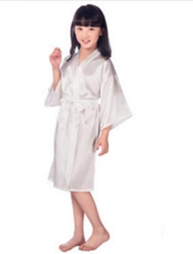 5c9f545f65 Baby Girls Kid Silk Satin Kimono Robes Bathrobe Sleepwear Wedding Flower  Girl Night Dres