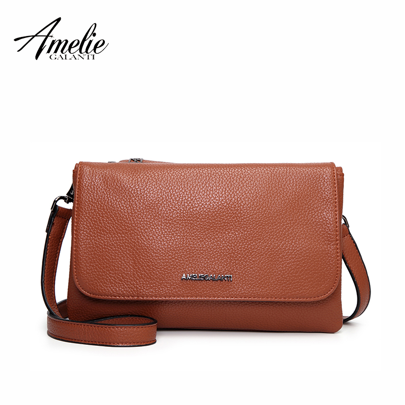 все цены на AMELIE GALANTI Small Messenger Bag for Women Casual Crossbody Purse Flap Shoulder Bag PU Leather