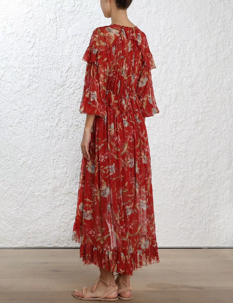 100% Silk Woman Dress 18 Spring Summer Red Floral Print Ruffle Long Sleeve Deep V Neck Sexy Slim Midi Dresses For Party 3