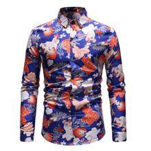 купить Long sleeve Blouse Men Casual dress Fashion Hawaiian Shirt Mens Clothing Slim fit Men Shirt Black Blue New arrival дешево