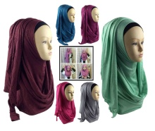 Islamic Long Malaysia Hijab Women Glitter ONE LOOP INSTANT HIJAB Muslim Shawl Head Cover Scarf Islam Female Headscarf 21colors