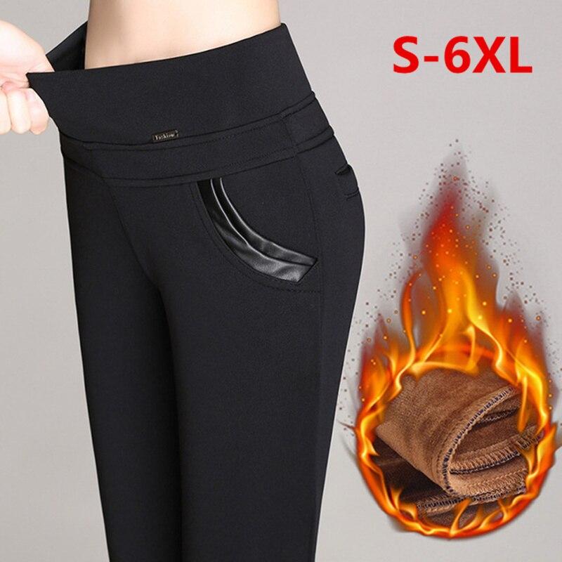 Pus Size 6XL Velvet   Leggings   Women High Waist Skinny Big Sizes Large   Legging   Warm Autumn Winter False Fleece Pencil Long Pants