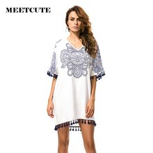 MEETCUTE New Design Bohemian Style Pregnancy Clothing Loose Shoulderless Maternity Tassel Mini Dress for Female(China)