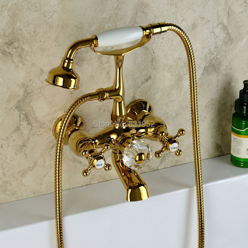 Free shipping Wall Mounted Gold Plate Bathtub Faucet Double Handle antique Brass Mixer Tap Bath & Shower Faucets Wholesale free shipping by dhl 1piece tda100 bathtub pump 0 75kw 1hp 220v 60hz bath circulation pump