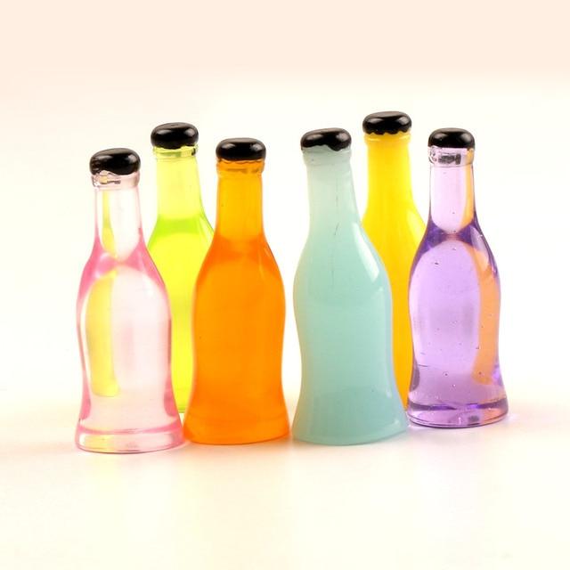 20-8Pcs 3D Resin Bottle Cabochon Crafts Embellishments For Fairy Garden Figurines & Miniatures Home Decoration Accessories Diy 3