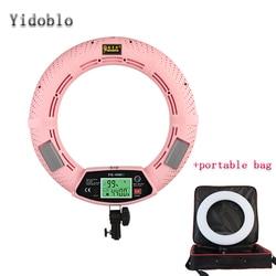 Yidoblo FE-480II Pink Photo Studio LED Ring Light + Portable bag LCD Screen Lamp RC Photographic Lighting 5500K 480LED Lights