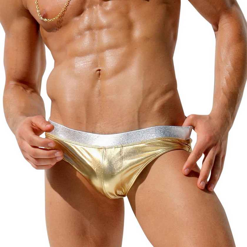 Austinbem Swimsuits Men Sunga Zwembroek Heren Metallic Gold Басып шығару Belt Swimsuit Men Swim Briefs Sungas De Praia Homens 238
