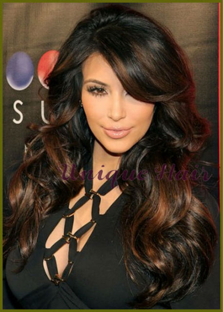 Celebrity Kim Kardashian Virgin Malatsian Long Wavy Two Tone Ombre
