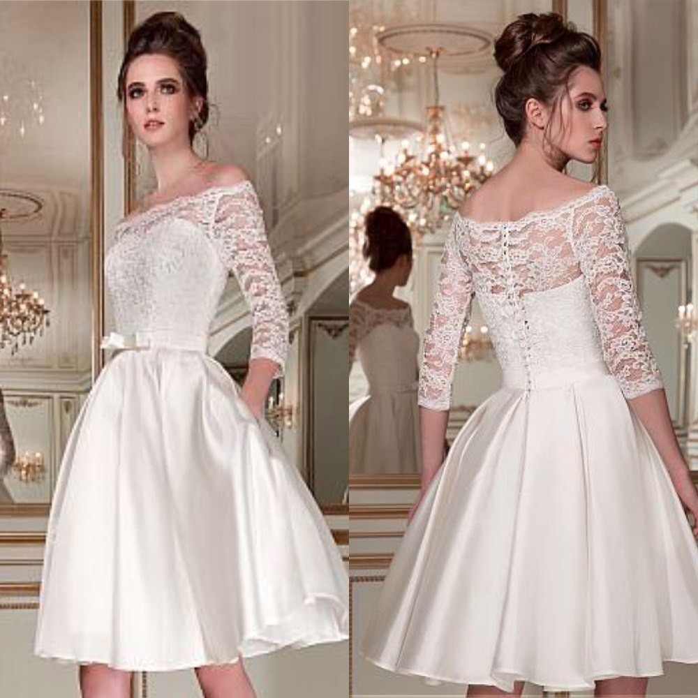 Wonderful Lace Satin Off-the-shoulder Bridal Dress Neckline 3/4 Length Sleeves Knee-length A-line Wedding Dress Pockets Short