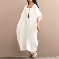 2017 Summer Autumn Women Dress Vintage Plus Size Batwing Sleeve Long Cotton Dress Female Solid Casual