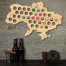 Ukraina nakrętka do piwa mapa drewniany butelka piwa Cap mapa ukrainy otwieracz butelek patera prezent dla kolektora nakrętka do piwa