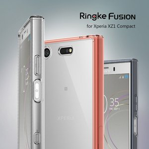 Image 1 - Ringke Fusion Case for Sony Xperia XZ1 Compact Transparent PC Back TPU Bumper Built in Dust Plug Drop Resistance Hybrid Cases