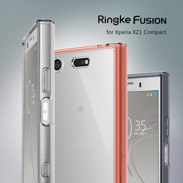 Ringke Fusion מקרה עבור Sony Xperia XZ1 קומפקטי שקוף מחשב חזרה TPU פגוש מובנה אבק Plug Drop התנגדות היברידי מקרי