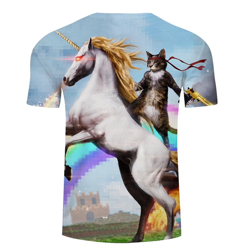 2018 3D printing Riding The horse A warrior Cat animal T-shirt fashion Men's clothing Round collar Cotton short sleeve 1