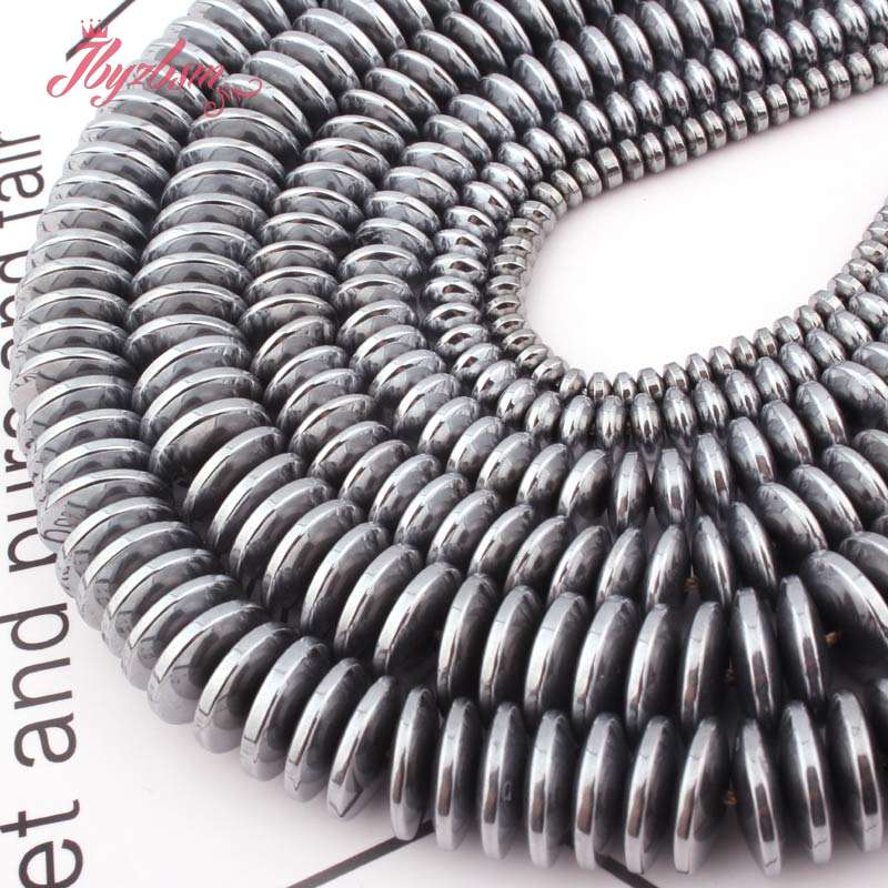 Silver Heishi Rondelle Metallic Coated Disc Hematite No Magnetic Stone Beads For DIY Women Jewelry Making Necklace Bracelet 15