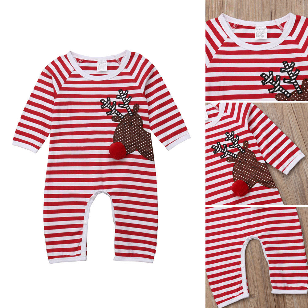 2019 Newest Newborn Baby Boy Girl Christmas Reindeer   Romper   Jumpsuit Clothes Outfits +Hat 0-18M