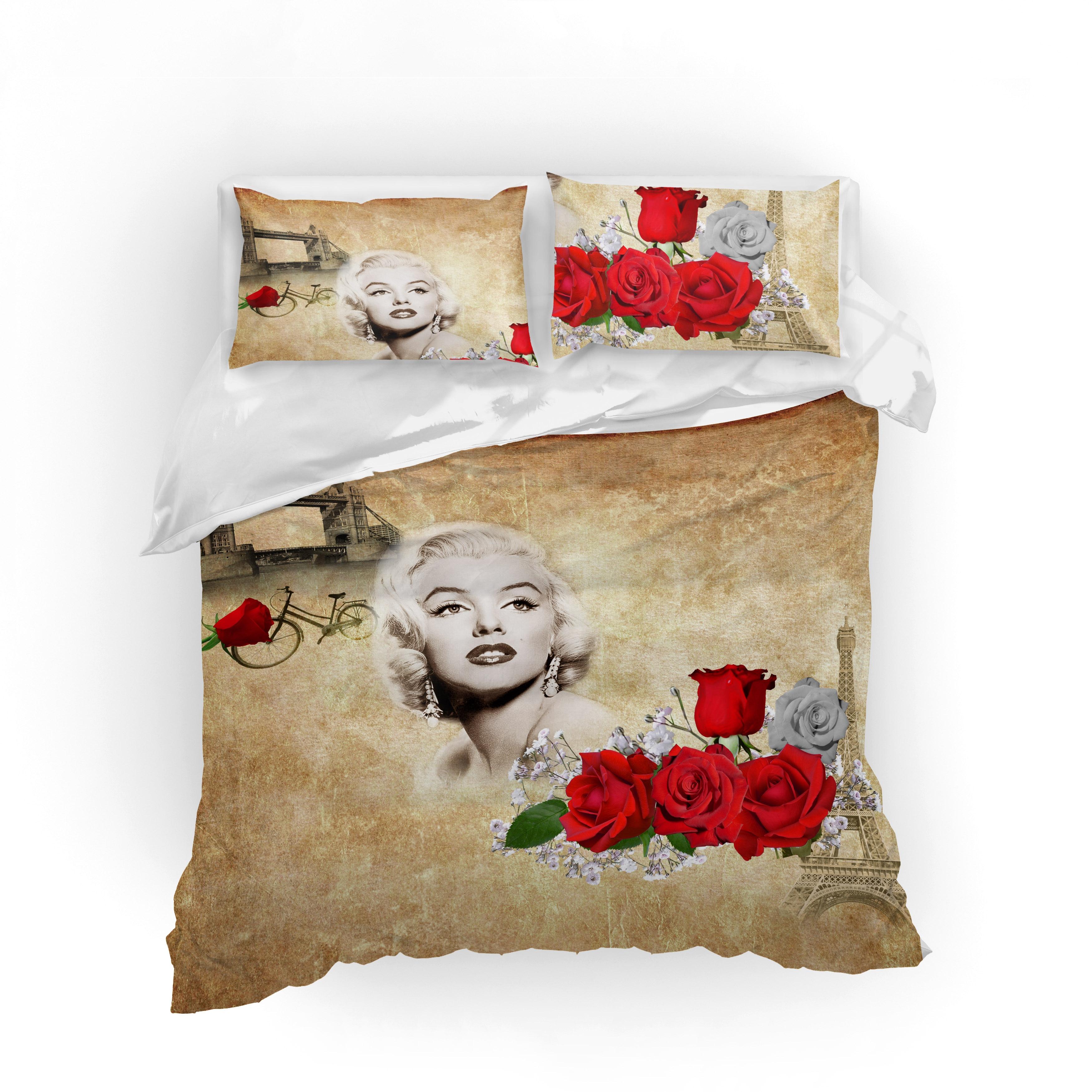 Edredon Marilyn Monroe.Juego De Ropa De Cama De Musolei 3d Conjunto De Edredon De Cama De Marilyn Monroe Conjunto De