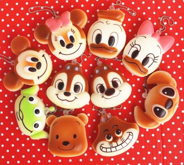 Original de 6cm kawaii amantes squishy mickey pan juguetes para teléfono celular llaves bolsos correas squishies pan