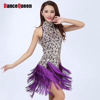 Desigual Women Collar Sequins Dance Dress Women 4color Latin Dance Dress For Lady Tassel Vestido Baile