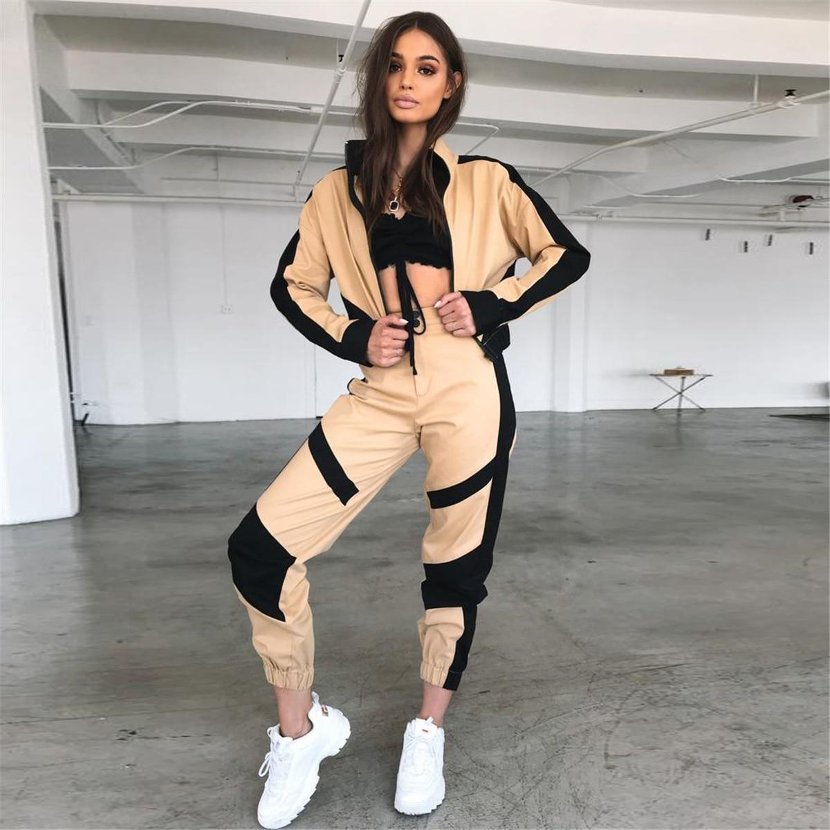 e25ab55a8a0f Donna Le Outfit Due 2 Set Donne Abito Piece Di Vestito Giacca LgucH L Khaki  Femminile ...