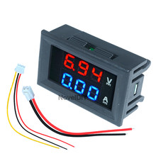 Voltímetro amperímetro dc 0.56 v 10a 100 pol, painel medidor tensão corrente visor vermelho duplo tela led