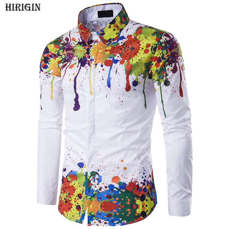 Luxury Fashion Men Graffiti Style Slim Fit Shirt Long Sleeve  Shirts Casual Shirts Tops