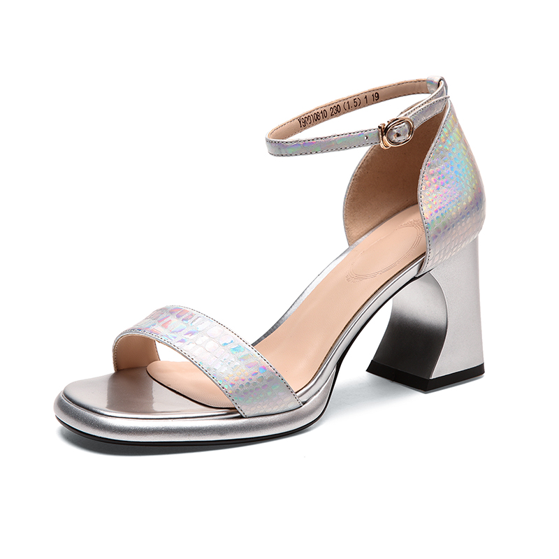 Genuine Leather Thick Heel Shoes Woman Sandals Summer High Heel Cover Heel Buckle Strap Sandals in High Heels from Shoes