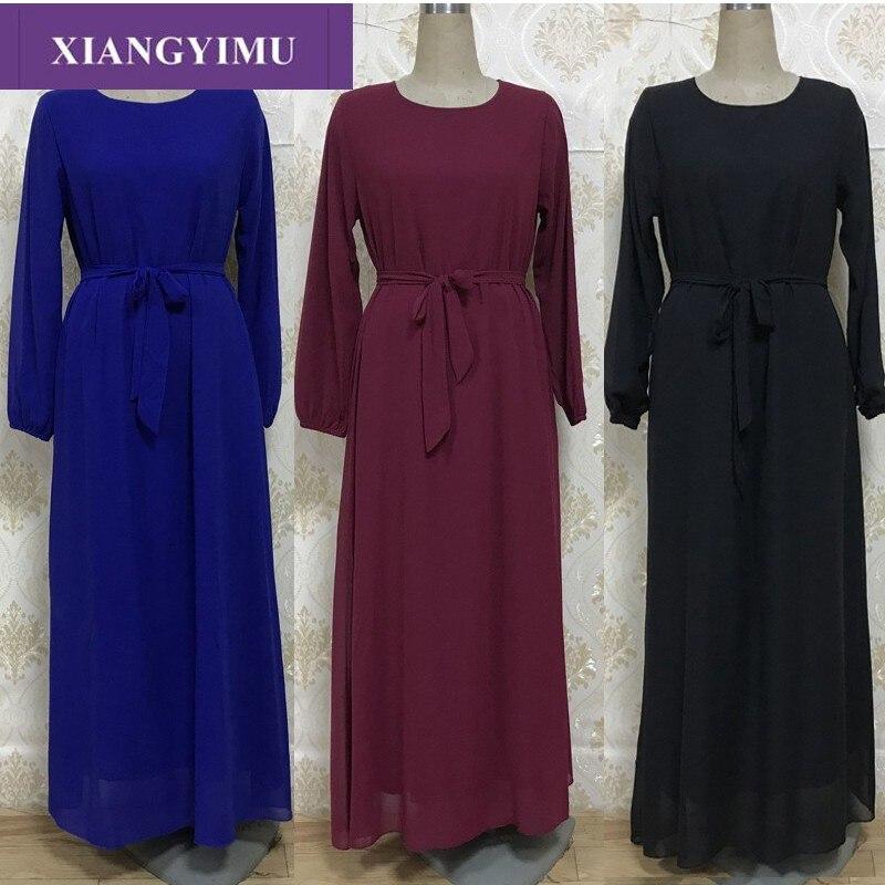 F888-1Kaftan Abaya Long Sleeves High Waist Chiffon Elegant Muslim Party Dubai Maxi Dress
