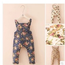 2015 New Arrival Print Unisex Straight Elastic Waist Broadcloth Overalls Child Denim Overalls Jumpsuit Jeans