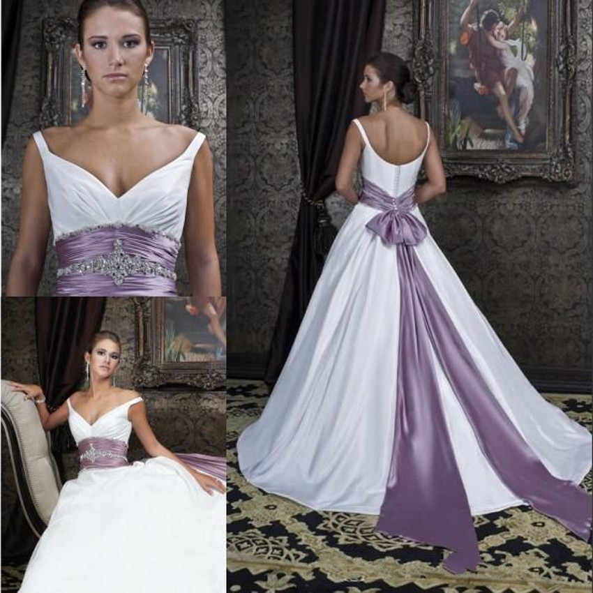 elegant wedding dress satin off shoulder v neck bridal dress crystal beaded bow sash