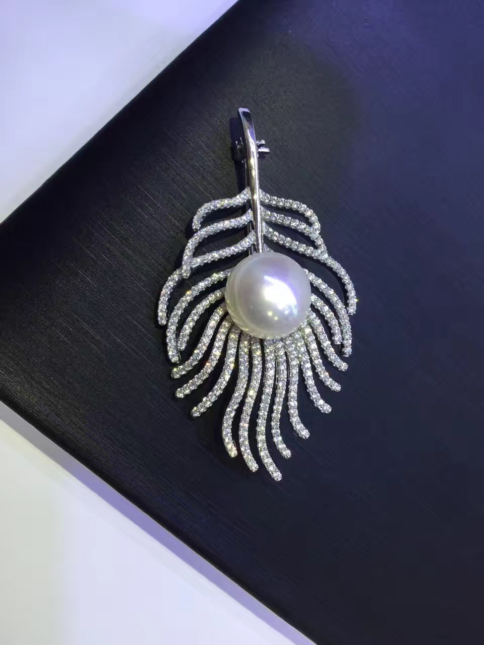 nature fresh water pearl brooch pins cultured pearl feather of peacock 925 sterling silver with cubic zircon fashion jewelry tanqu diamond shaped variable handle for obag long adjustable handles with drop buckle for o bag for eva bag body