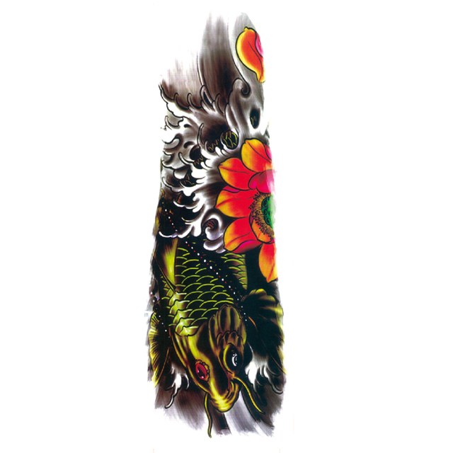 5pcs Carp Jumping Gantry Waterproof Temporary Tattoos Men Harajuku