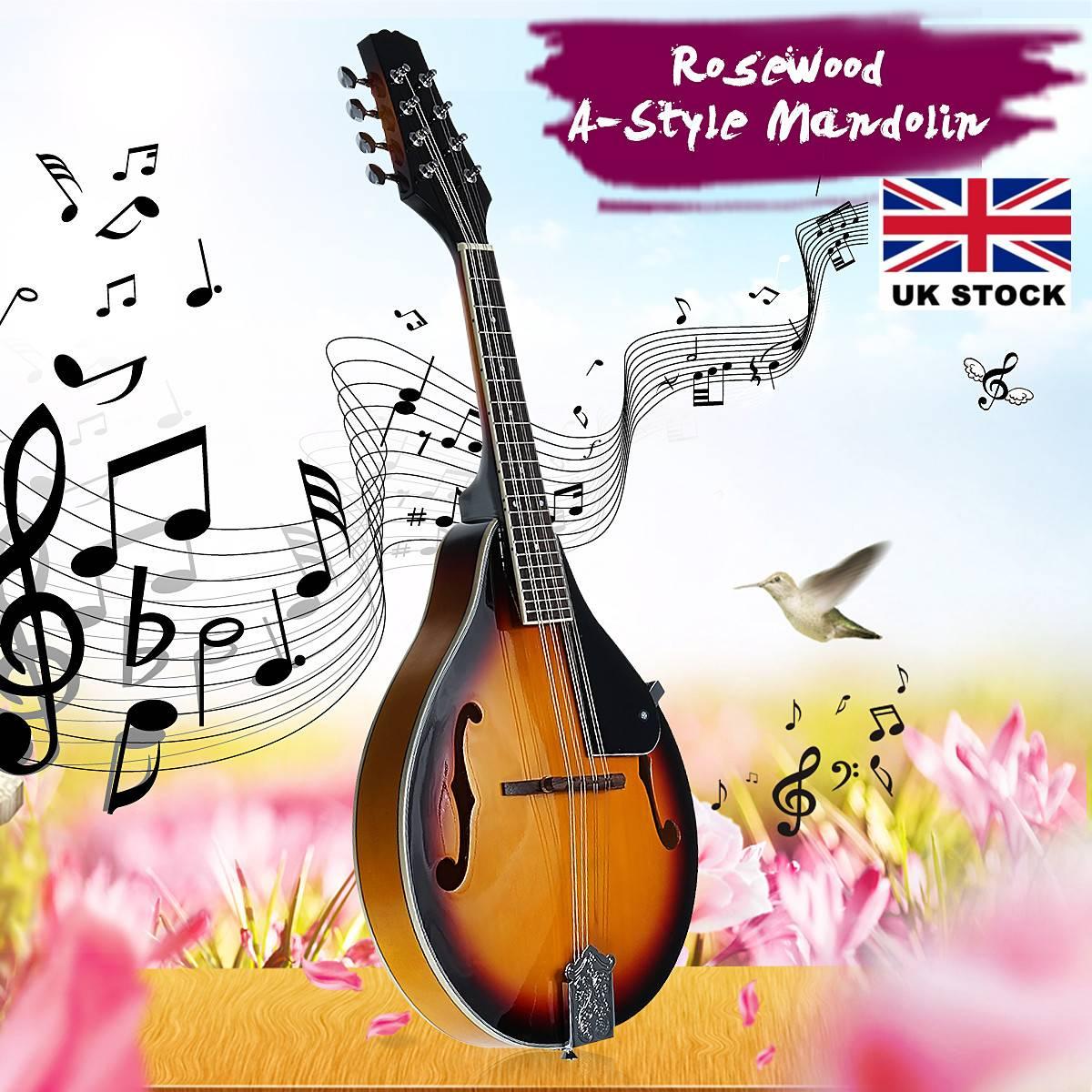 SENRHY coucher de soleil couleur palissandre 8 cordes F trou guitare basse électrique 20 Fret ukulélé pour les amateurs d'instruments à cordes musicales