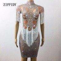 Sparkly Kristaller Büyük Streç Elbise kadın Akşam Parti Tam Rhinestones Püskül Elbise Balo Doğum Günü Kutlamak Kıyafet Giymek