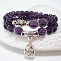 Natural Amethyst Handmade Beaded Bracelet rosary necklace buddha prayer beads with Lovely Cat pendant jewelry necklace